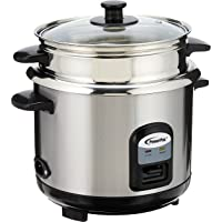 PowerPac Rice Cooker with Stainless Steel Inner Pot and Food Steamer, 1L, (PPRC31)