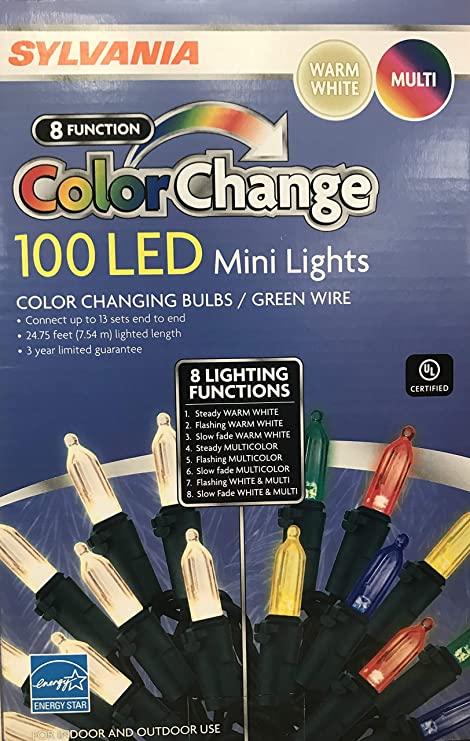 Sylvania Christmas Lights 8 Function Color Changing Warm White Multi Color Connectable Led Mini Lights 100 Count 1 Box 100 Count 8 Function