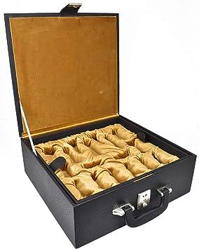 RoyalChessMall - Caja de Almacenamiento de Cajas de ajedrez de Cuero, tamaño 3 a 4