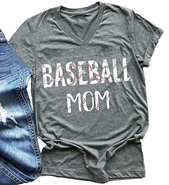 f8bfd1bf Amazon.com: Baseball Mom Shirt for Women Funny Graphic Tees V-Neck Letter  Print Casual Short Sleeve Tops T-Shirt: Clothing