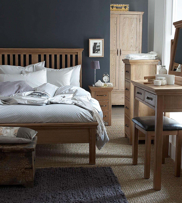 Warwick Oak Dressing Table Stool in Light Oak Finish | Wooden Stool PU Leather Seat Pad Hallowood Furniture
