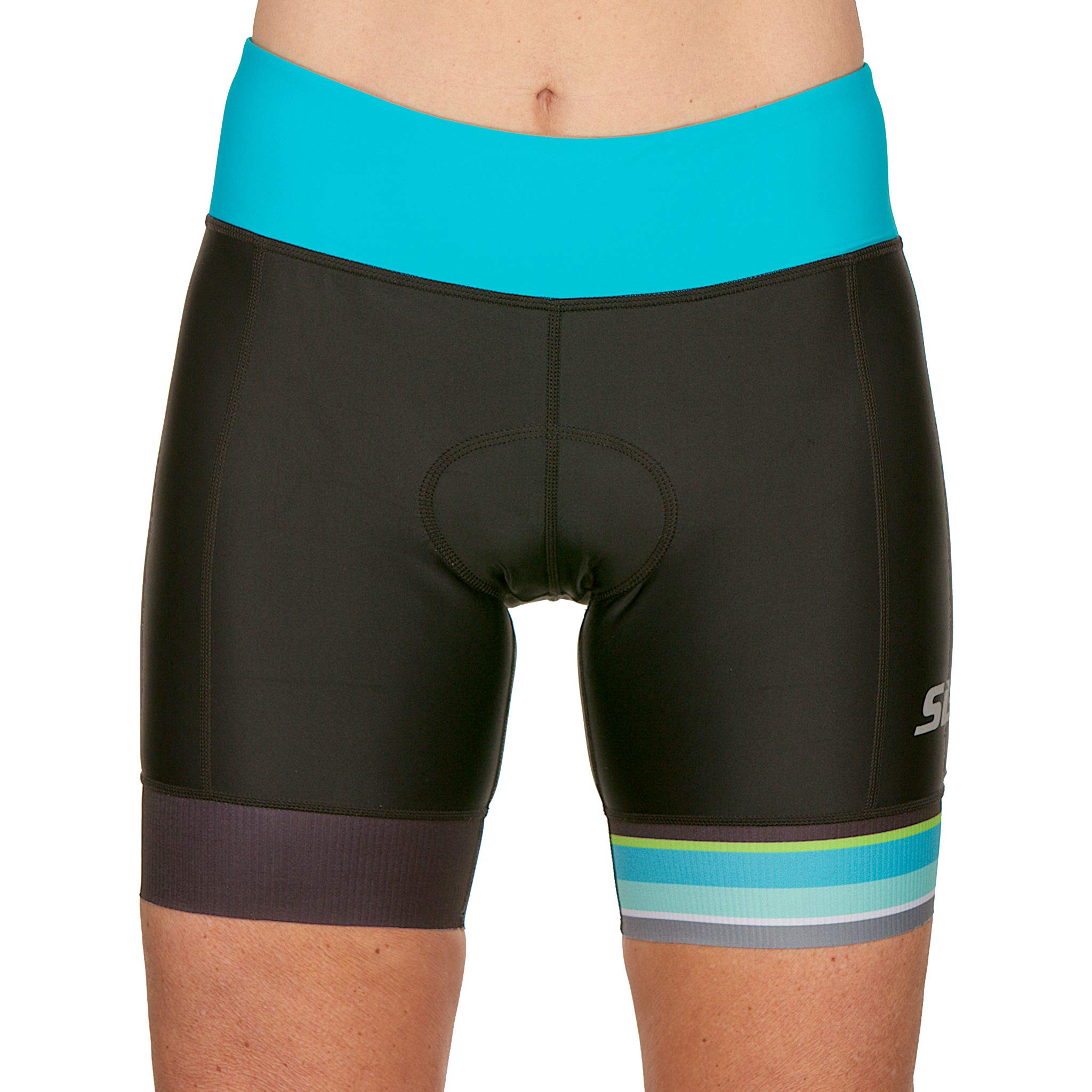 SLS3 Womens Triathlon Shorts FRT | 6 inch Black Women Tri Short | Super Comfy Tri-Shorts with Soft Chamois | German Designed (Black/Martinica Blue, Small)