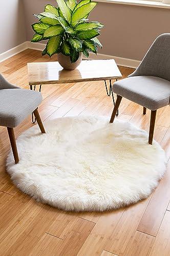 4 Round Premium Australian Sheepskin Area Rug