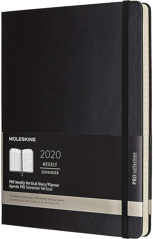 Moleskine Pro Weekly 2020 - Agenda Semanal de 12 Meses en Plan Vertical con Tapa Dura, XL (19 x 25 cm), Negro (Black)