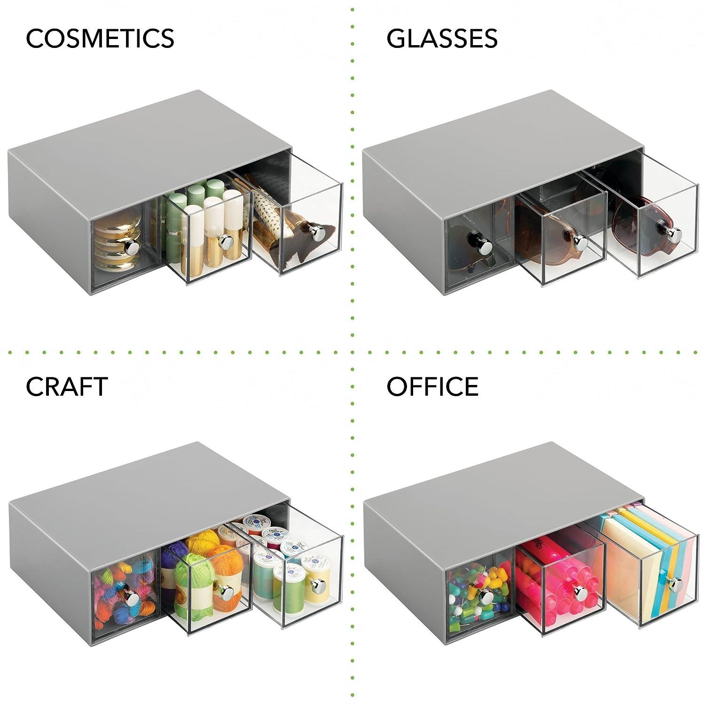 bolsas de t/é az/úcar transparente mDesign Organizador de cocina con 3 cajones de pl/ástico Mini cajonera para infusiones Caja de t/é en pl/ástico sobres de caf/é etc