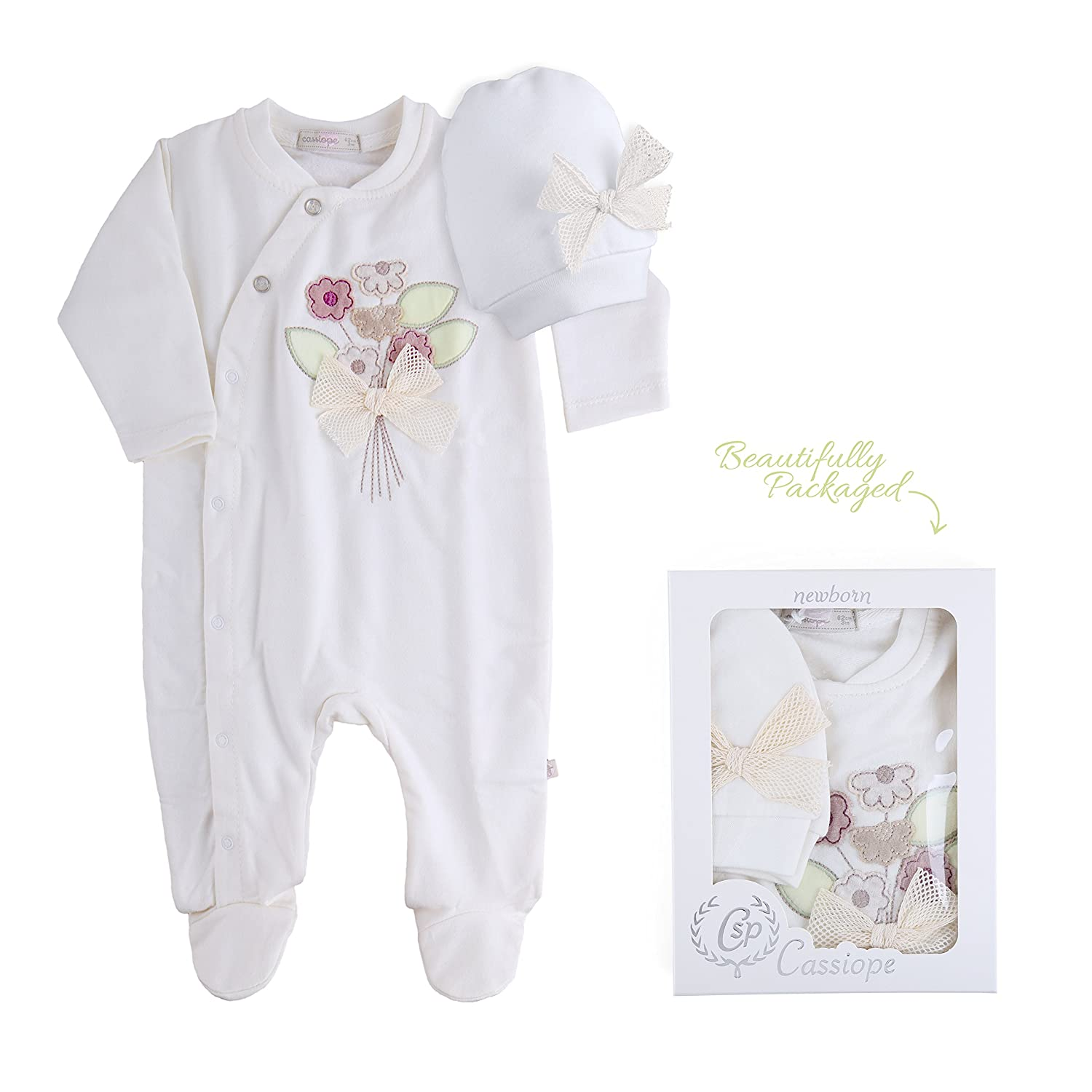 Cassiope Baby Girl Turkish Cotton Footsie with Embossed