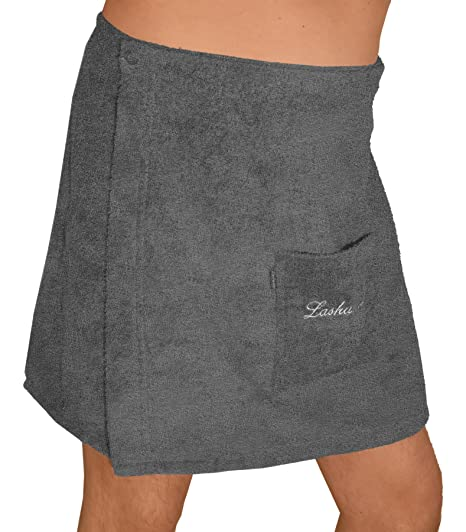 Lashuma Sauna Kilt gris para mujeres y hombres – Toalla de sauna con bordado, tamaño