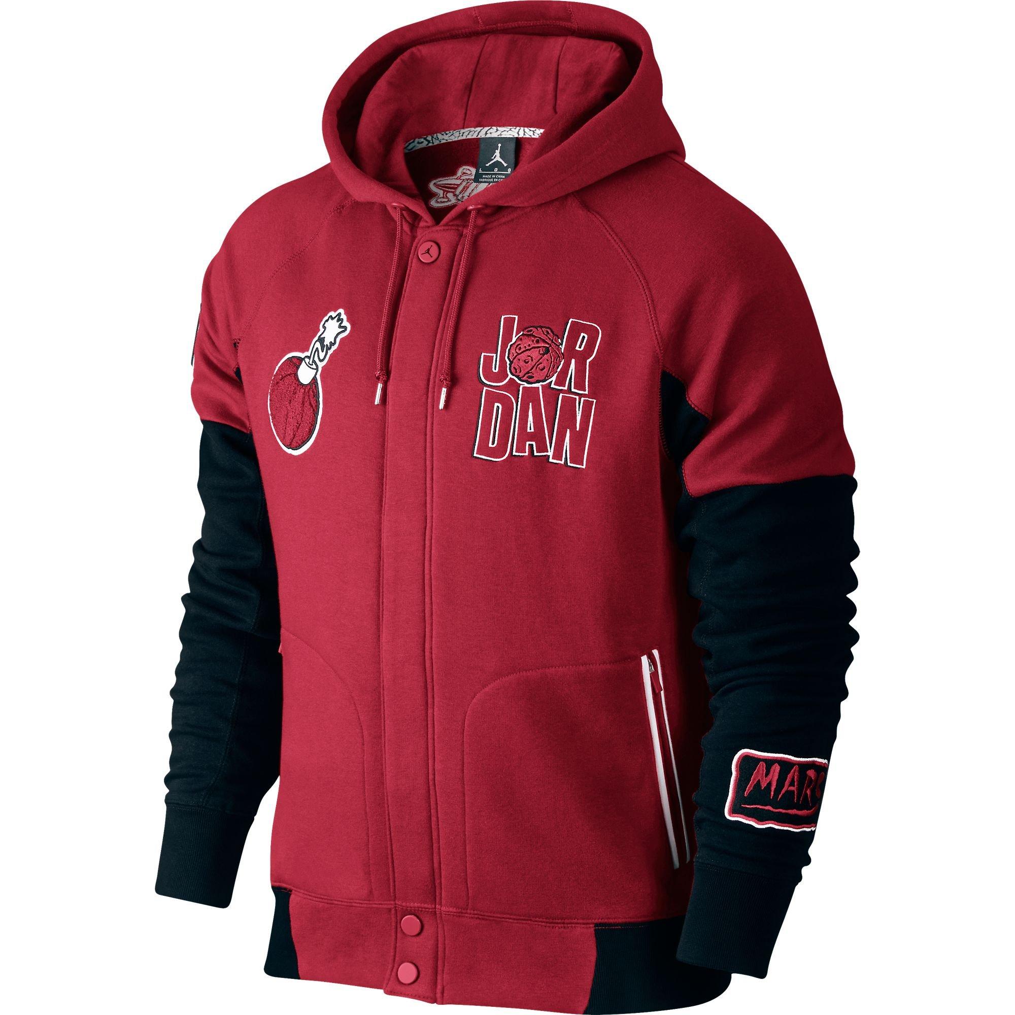 Jordan WB Marvin Varsity Hooded Men's Jacket Red/White/Black 716423-687 (Size 4X) by Jordan