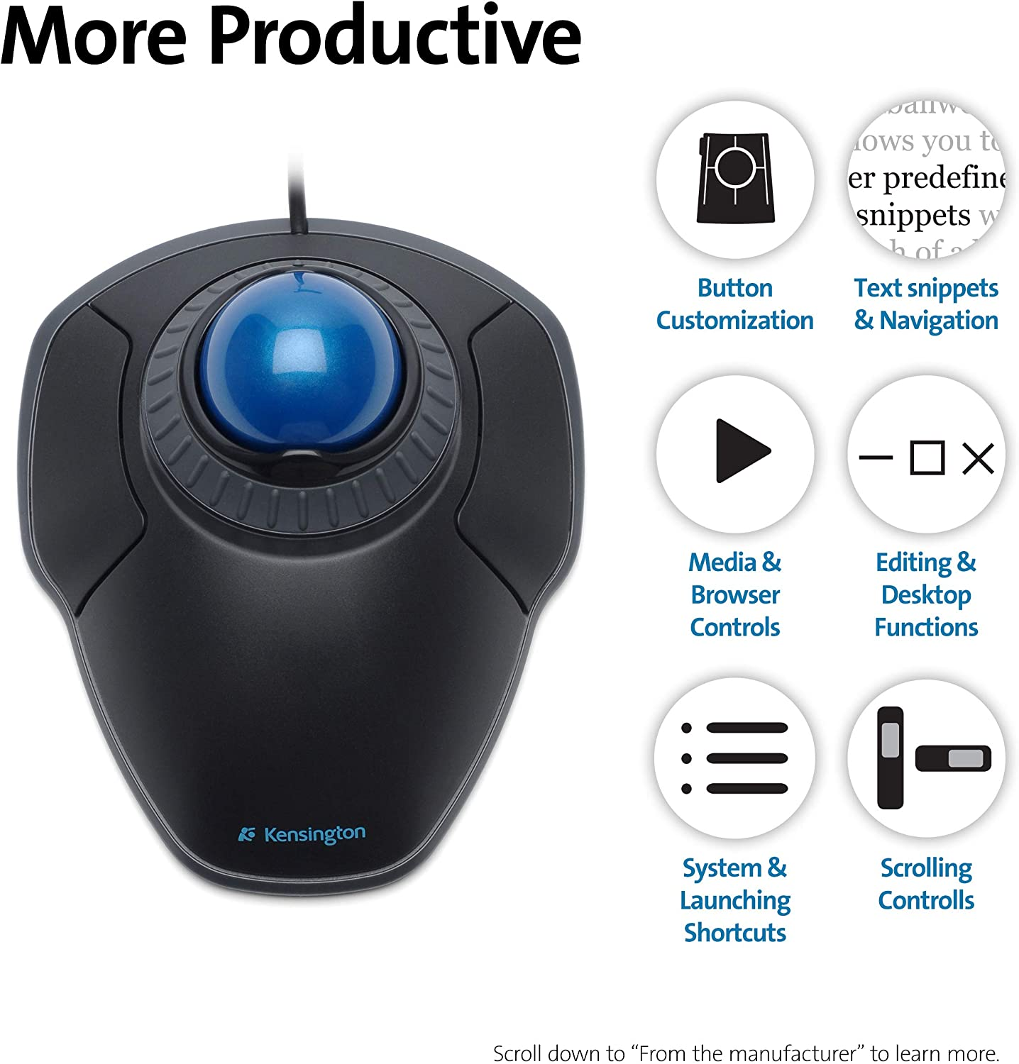Orbit Trackball With Scroll Ring Two Buttons Black Computer Zubehör