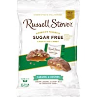 Russell Stover Sugar-Free Crispy Caramel, 3 Ounce Peg Bag (Pack of 12) Sugar-Free Candy, Buttery Caramel and Crispies Covered In Chocolate Candy, Sweetened with Stevia