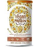 Vegan Protein | SCHOKOLADE | Pflanzliches Proteinpulver mit Reis-, Hanf-, Soja-, Erbsen-, Chia-, Sonnenblumen- und Kürbiskernprotein + Verdauungsenzyme | 600 Gramm Pulver