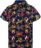 KAMEHAMEHA Funky Hawaiian Shirt for Men Short Sleeve Front-Pocket Christmas Hats Santa Multiple Colors
