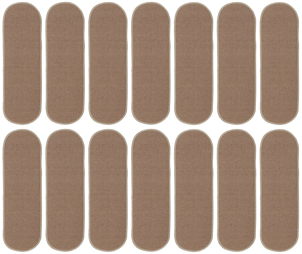 Beige 8.5X26 ESC011O-7PK Ottomanson Homeline Escalier Collection Oval Stair Treads 8.5X26 7 Pack Oval