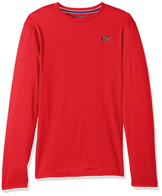 391a1615db7e Champion Men's Double Dry Heather Long Sleeve T-Shirt, Champion Scarlet  Heather, Small