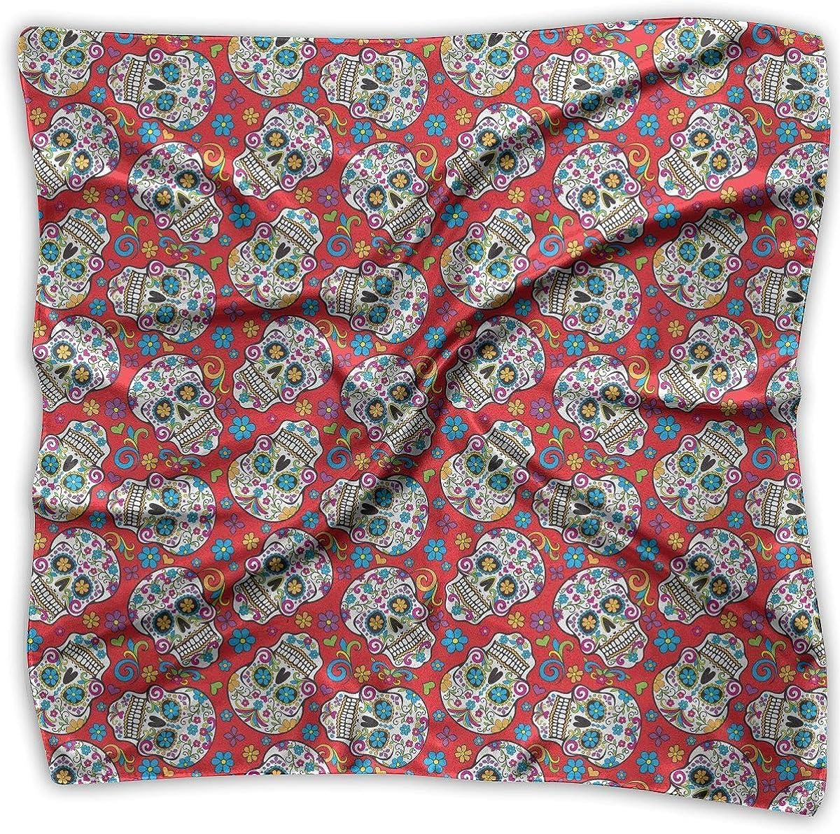 Voxpkrs Foulard quadrato in raso Foulard folclorico Seta rossa come i capelli leggeri Avvolgente collo Sciarpe quadrate Large