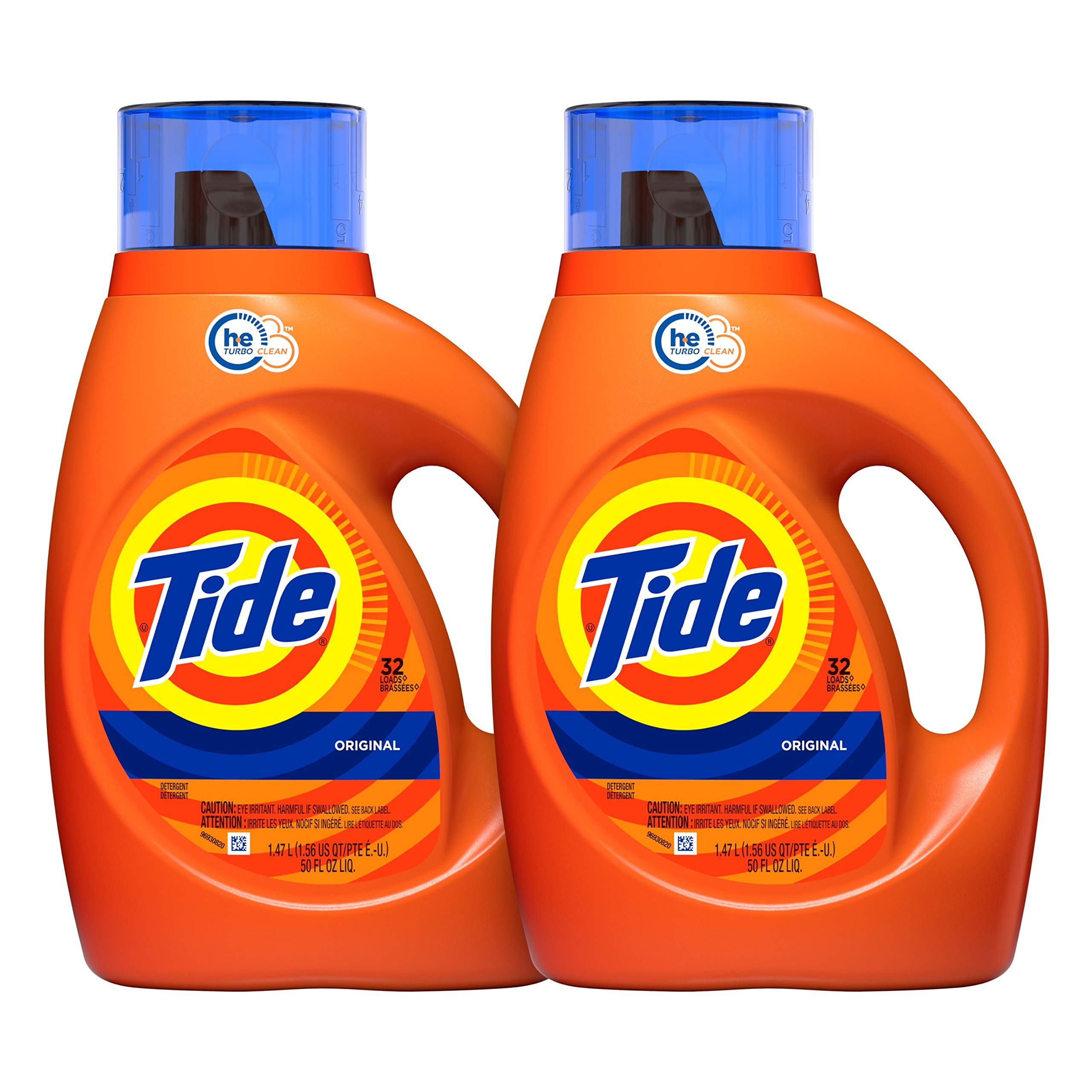 Tide Laundry Detergent Liquid, Original Scent, HE Turbo Clean, 50 oz, Pack of 2, 64 Loads Total (Packaging May Vary) by Tide