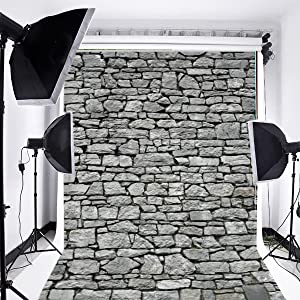 Laeacco Customizable 5x7ft Vinyl Photography Backdrop Rock Stone Brick Wall Theme Photo Shooting Home Decor Party Festival Scene 1.5(w) x2.2(h) m Background Photo Studio Props