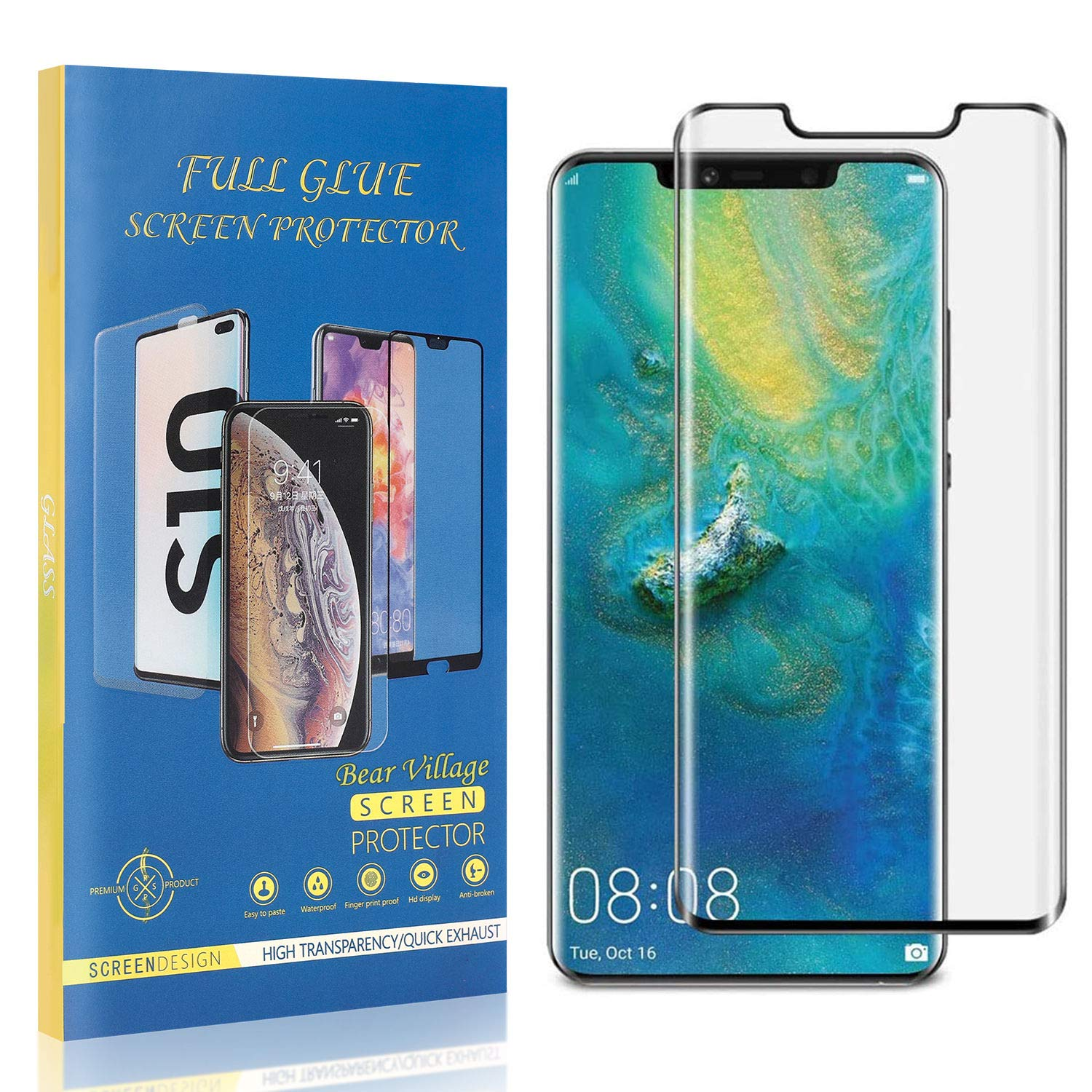 HD Tempered Glass Screen Protector Film for Huawei Mate 20 Pro 1 Pack Ultra Thin Bubble Free Bear Village Screen Protector for Huawei Mate 20 Pro