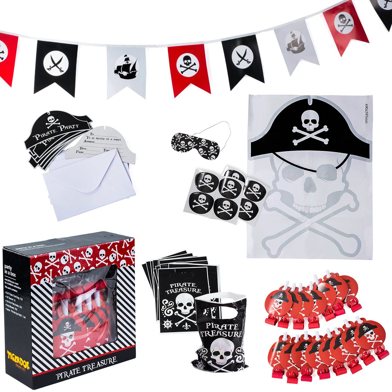 Pirate Party Supplies for kids Birthday - Set for 16 Guests - Pirate Party Decorations - Pirate Party...