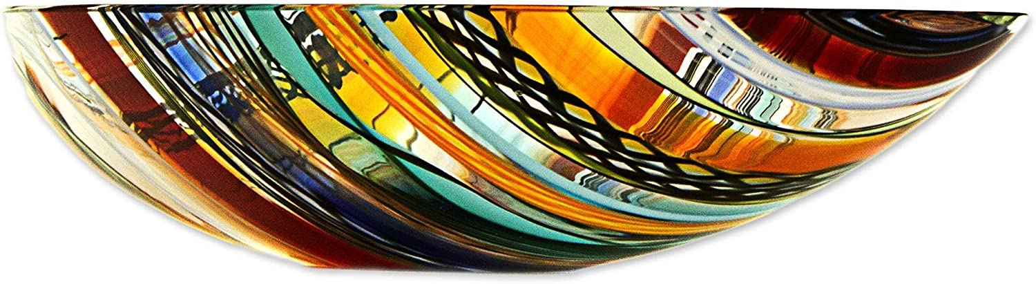 NOVICA Colorful Green and Yellow Striped Art Glass Handmade Centerpiece Bowl Rainbow Eclipse