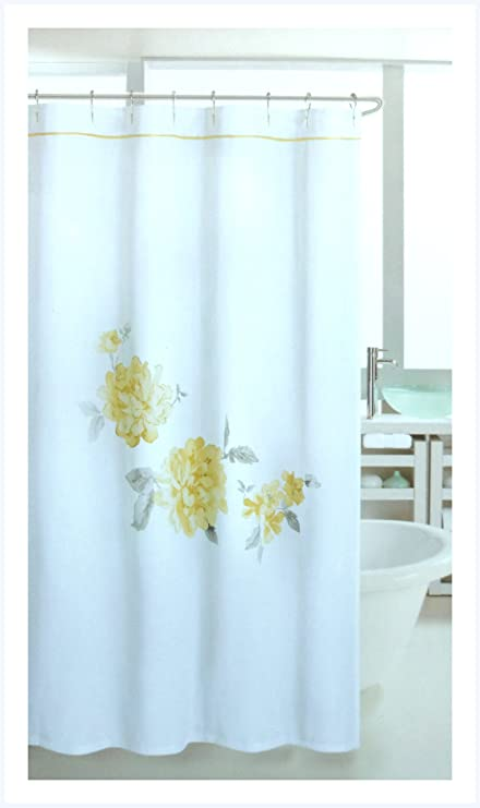 Image Unavailable Not Available For Color Nicole Miller Yellow Floral Splash Fabric Shower Curtain