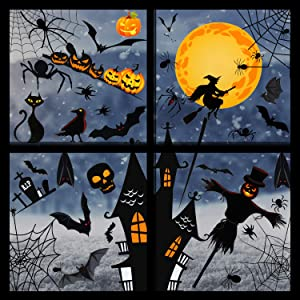 8 Sheets 160 Pieces Halloween Window Sticker Set Bat Spider Pumpkin Design Window Decals Window Clings Window Decals Sticker Wall Sticker for Halloween Spooky Party Decorations