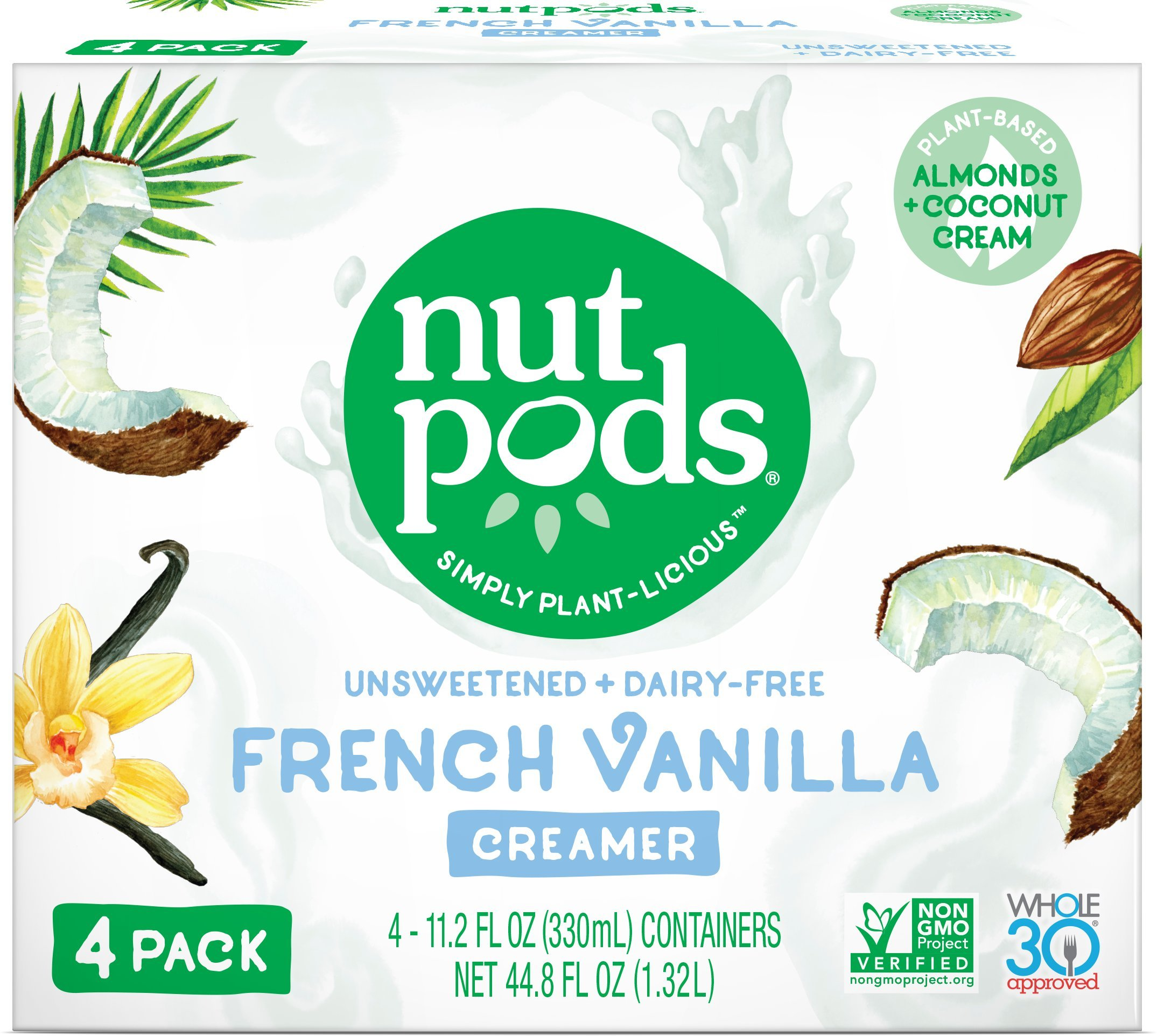 nutpods French Vanilla 4-pack, Unsweetened Dairy-Free Creamer, Whole30, Paleo, Keto, Non-GMO & Vegan, for Coffee, Tea & Cooking, made from almond and coconut