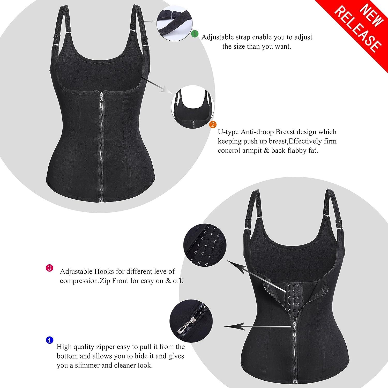 4752dfade3 Eleady Women s Underbust Corset Waist Trainer Cincher Steel Boned Body  Shaper Vest with Adjustable Straps  Amazon.co.uk  Clothing