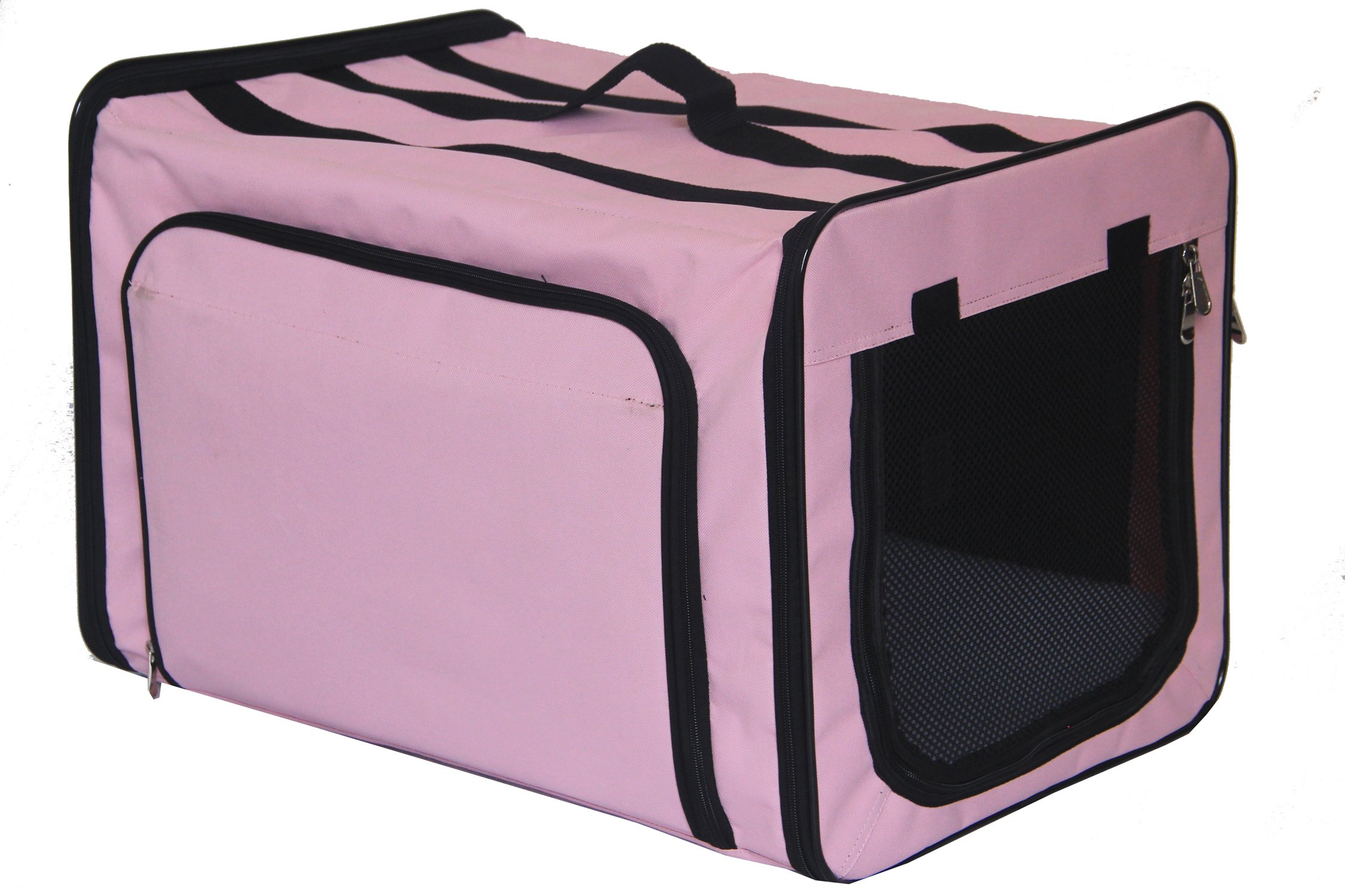Pet Life 'Capacious' Dual-Sided Expandable Spacious Wire Folding Collapsible Lightweight Pet Dog Crate Carrier House, X-Large, Pink by Pet Life (Image #3)