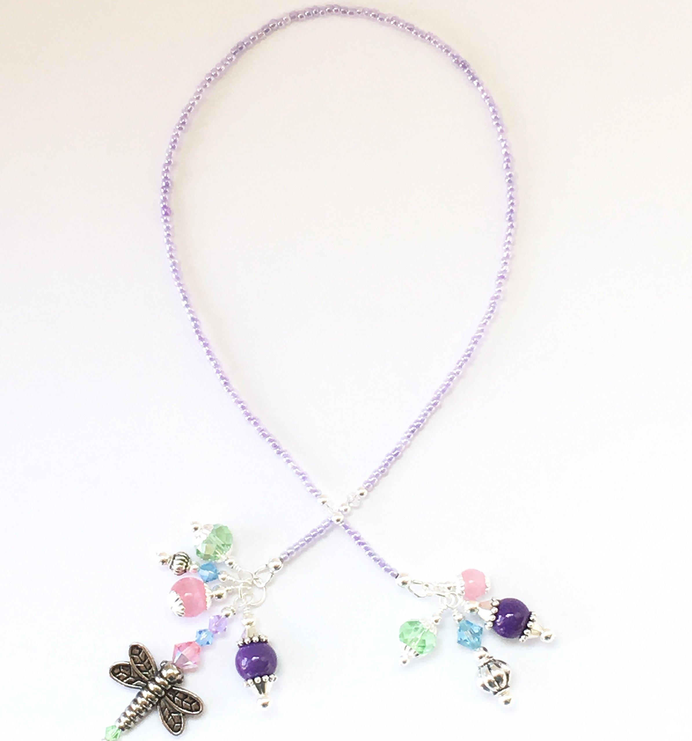 Handmade Beaded Bookmark~Purple/Pastel Dragonfly~Swarovski Crystal~Book Thong