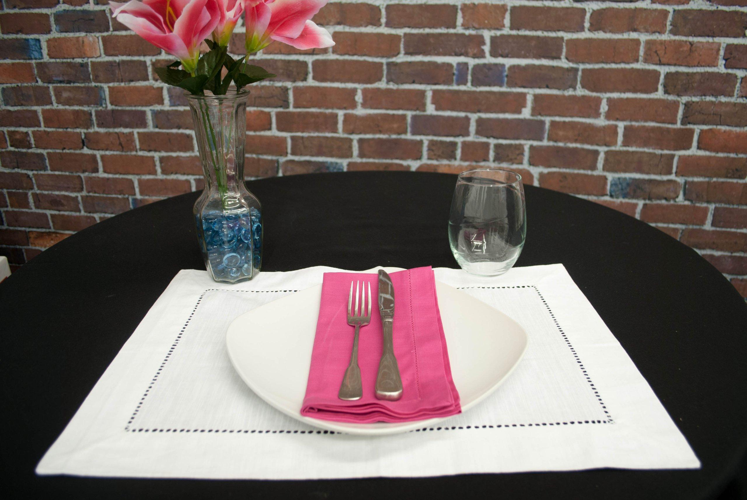 Hemstitch Dinner Napkins Hot Pink 1 Dozen by Something Different Linen (Image #3)