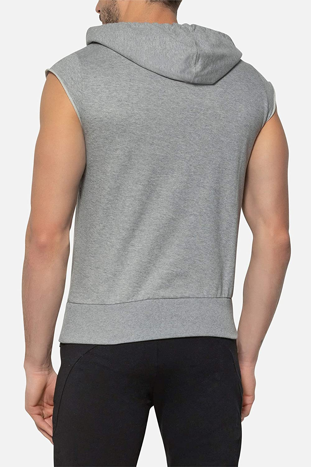 Sleeveless Marl-Grey Hoodie with Front Maxi Print Boxeur des rues Man