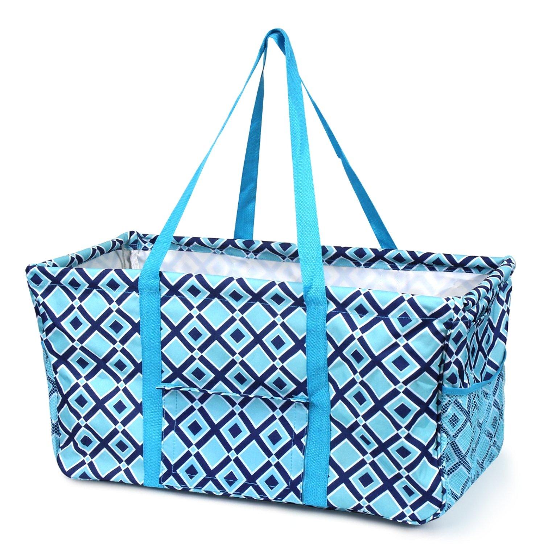 Zodaca Turquoise Navy Diamond Wireframe Utility basket