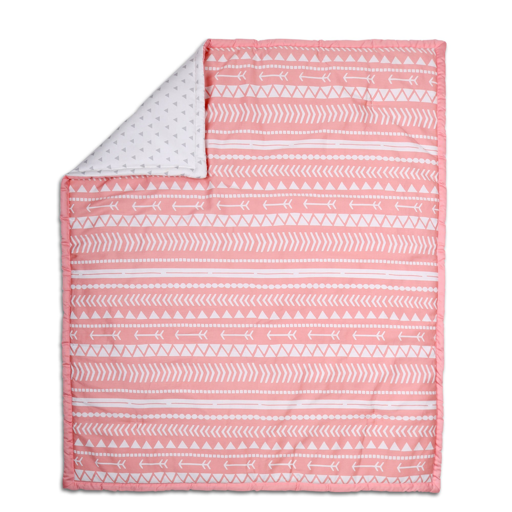 Coral Pink Tribal Print Reversible 100% Cotton Crib Quilt by The Peanut Shell