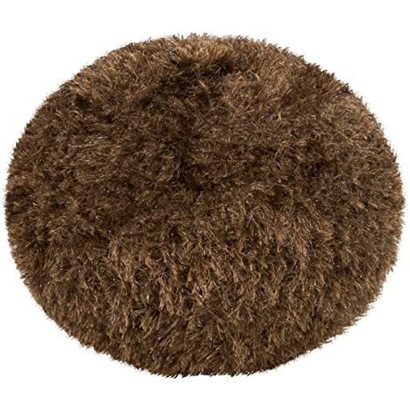 Amazon 40 Walnut Brown Trouble With Tribles Shaggy Round Pouf Magnificent Shaggy Pouf Ottoman