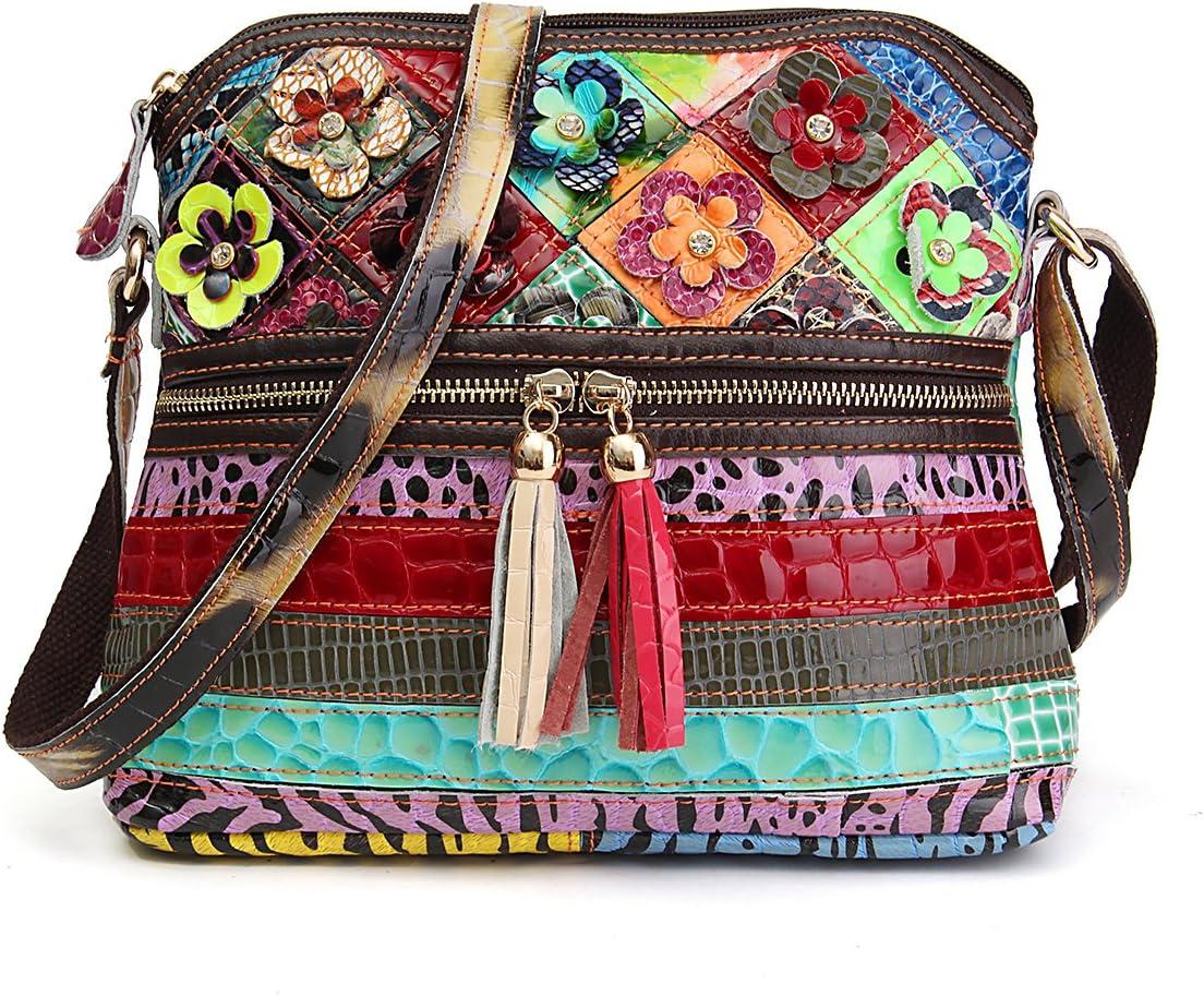 Bolso Crossbody de Moda, OURBAG Bolso de Cuero de Mujer Vintage Bolso de Hombro Bolso de Playa para Mujer Vistoso