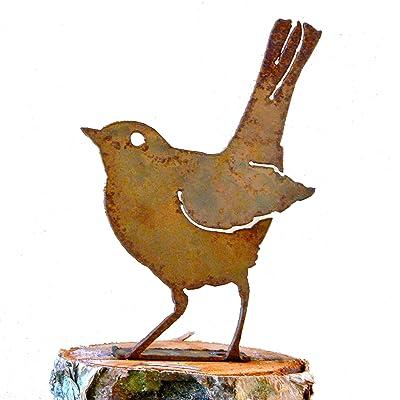 Elegant Garden Design Baby Robin, Steel Silhouette with Rusty Patina : Outdoor Statues : Garden & Outdoor