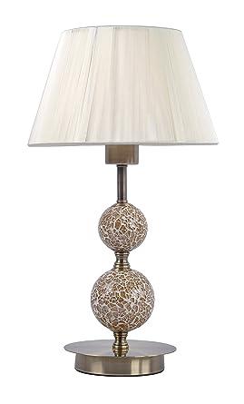Lampara sobremesa habitación | cuero (Oro envejecido), mosaico y pantalla hilo Beige | Ideal para habitación o salón | Admite LED | Elegante, moderna, ...