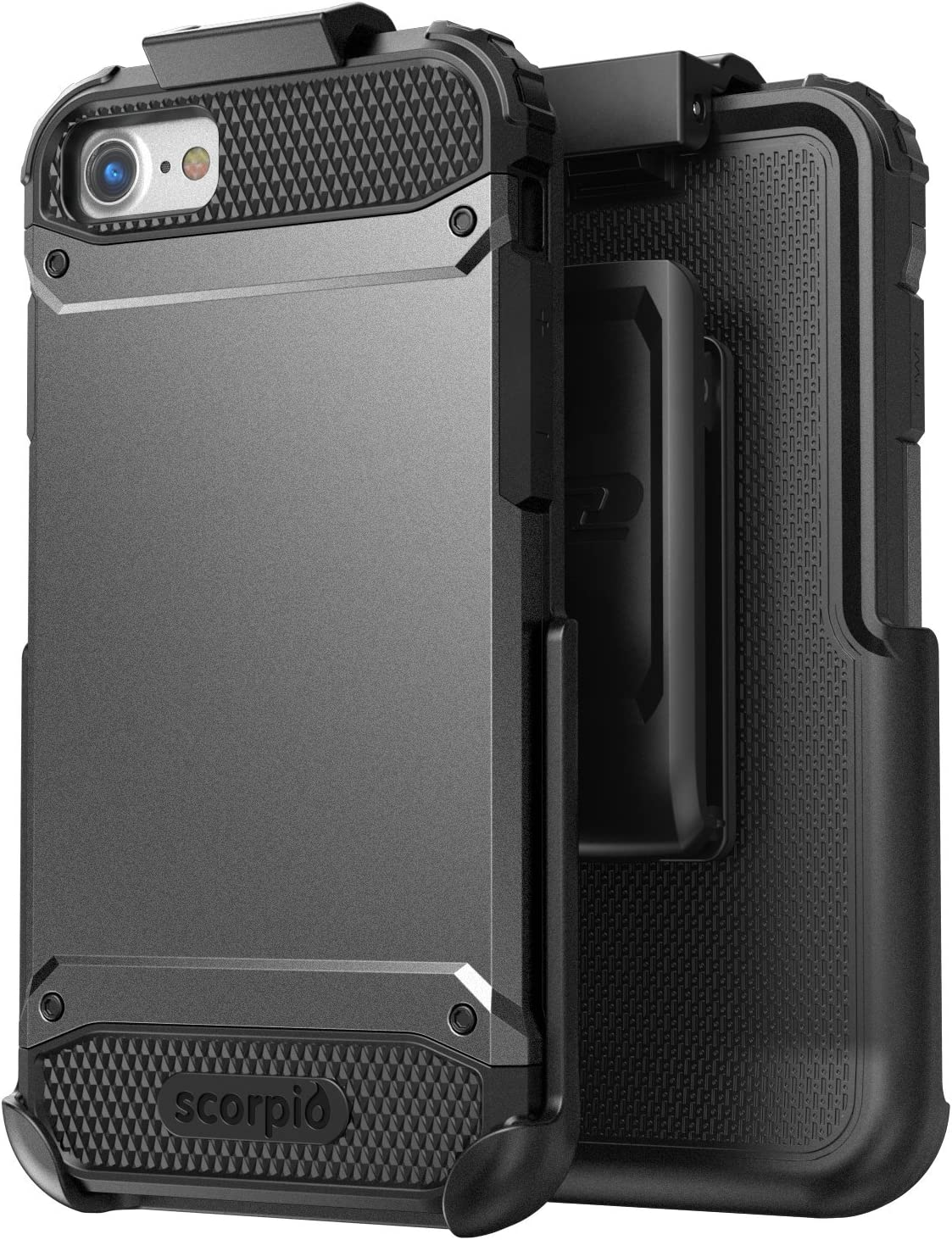 Encased Heavy Duty Belt Case Compatible with iPhone 7 (Black/Gray) Tough Full-Body Protective Cover with Holster Clip Combo (for Apple iPhone 7 Phone)