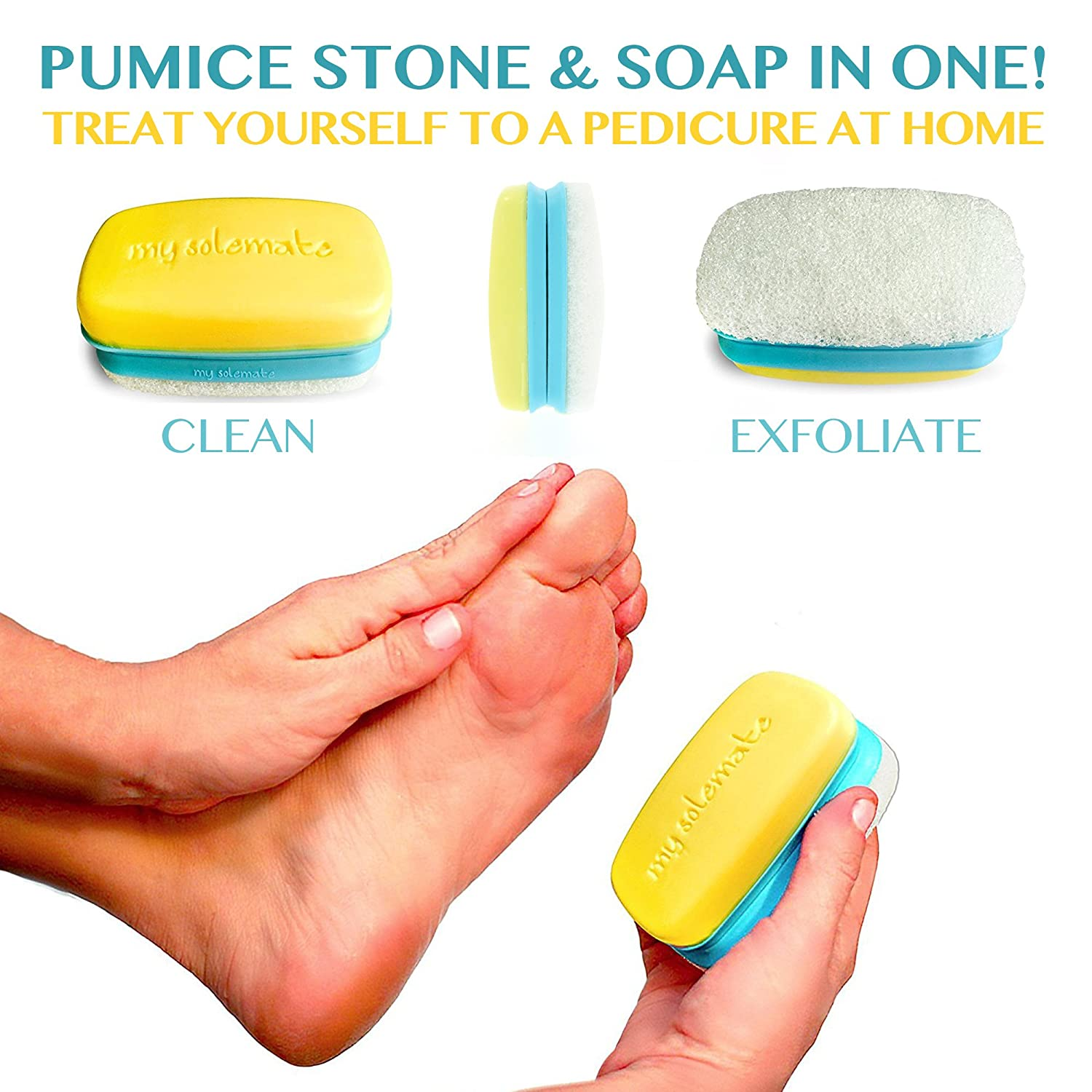 Amazon : My Solemate  2 In 1 Pumice Sponge Exfoliating Foot Callus  Remover And Moisturizing Soapbination  For Smooth Soft Feet, Hands And  Elbows :