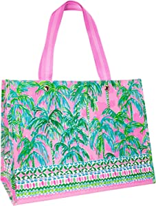 Lilly Pulitzer Pink/Green XL Market Shopper Bag, Oversize Reusable Grocery Tote with Comfortable Shoulder Straps, Suite Views