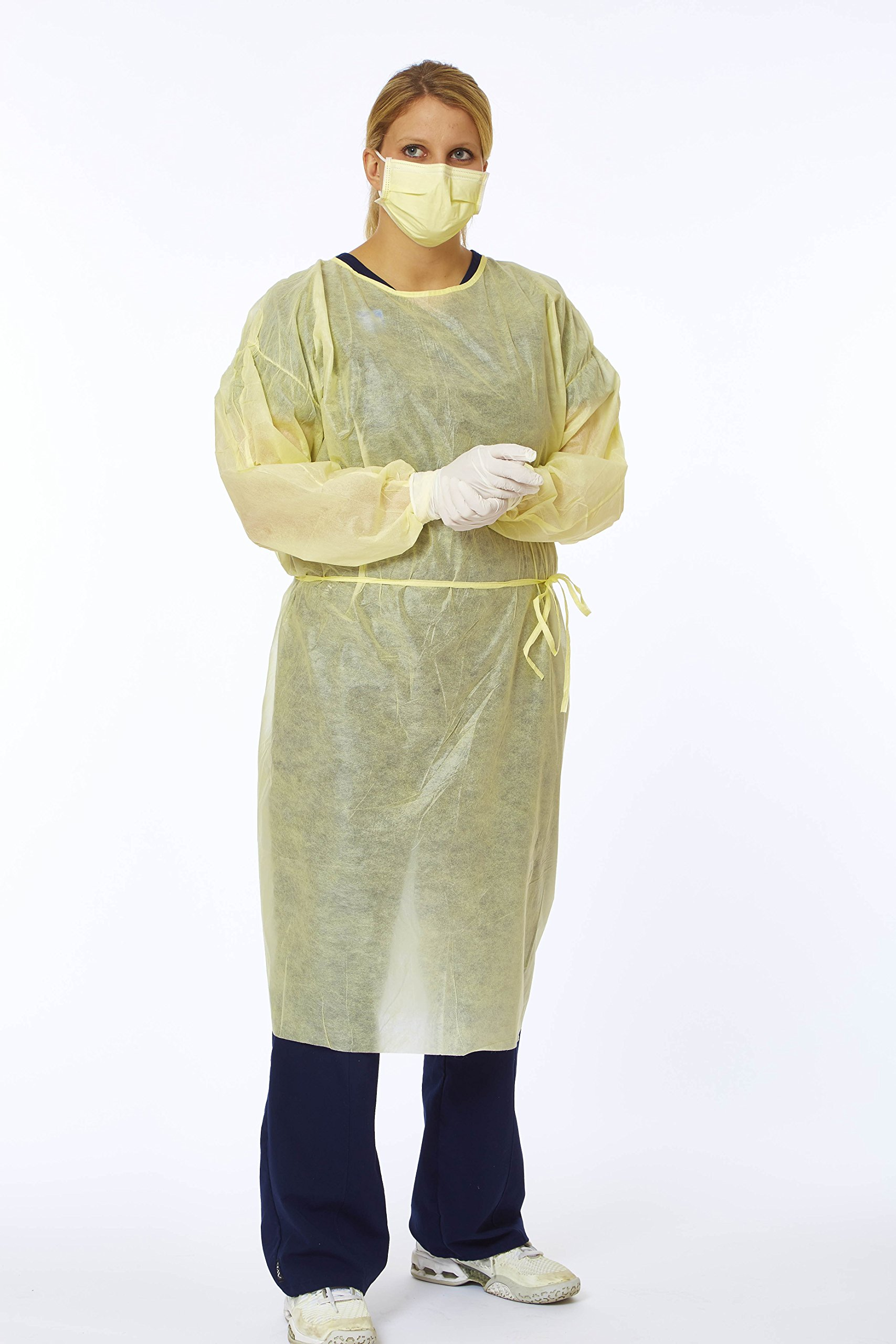 Medline Disposable Lightweight Fluid Resistant Isolation Gowns, Yellow, X-Large, (50 Count)
