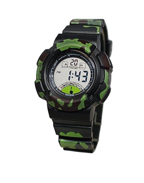 Reloj infantil para niño cuarzo digitale camuflaje militar Sport Chrono alarma etanche: Amazon.es: Relojes