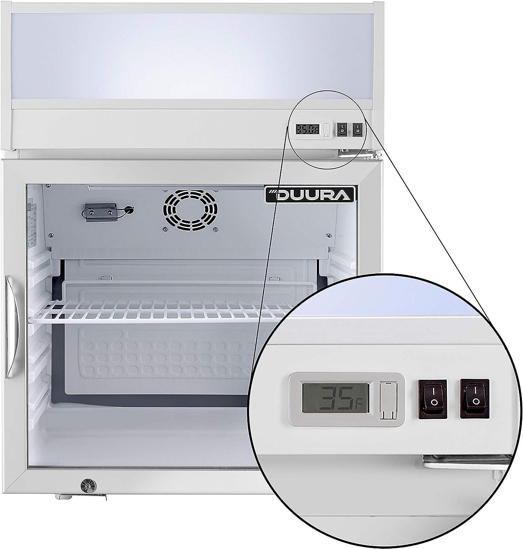 DUURA DGMW2.5RA DGMW2.5R 22-inch Merchandiser Countertop Refrigerator Multi-Pane Glass Door with Lock and Easy-to-Read Digital Temperature Display, 2.6 Cubic feet, White