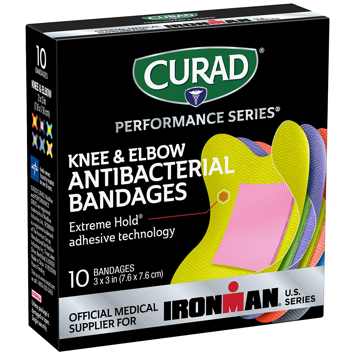 Curad - CURIM5022 Performance Series Ironman Knee and Elbow Antibacterial Bandages, Extreme Hold Adhesive Technology, Fabric Bandages, 10 Count