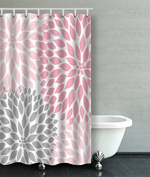 Accrocn Waterproof Shower Curtain Curtains Fabric Pale Pink Gray White  Dahlias 36x72 Inches Decorative Bathroom Odorless