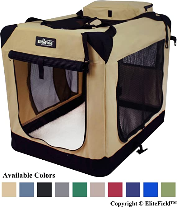 EliteField 3-Door Folding Soft Dog Crate