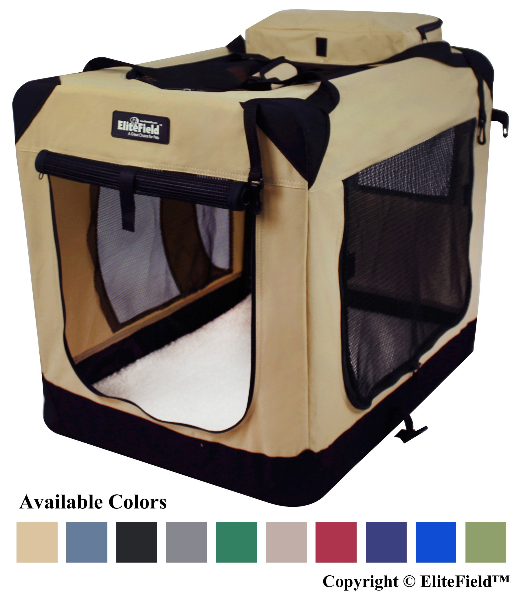 EliteField 3-Door Folding Soft Dog Crate, Indoor & Outdoor Pet Home, Multiple Sizes and Colors Available (36''L x 24''W x 28''H, Beige)
