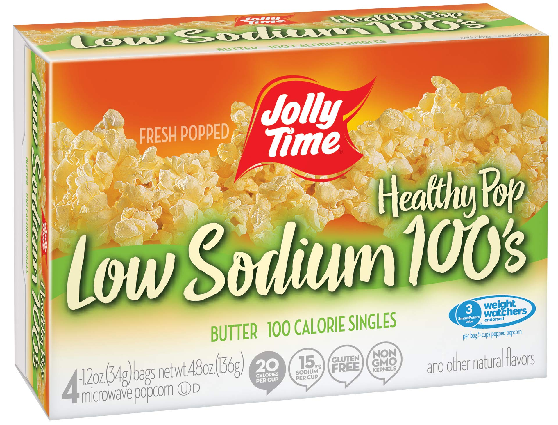 Amazon.com: Jolly Time Low Sodium Healthy Pop Butter - 100 Calorie  Microwave Popcorn Mini Bags, 4-Count Boxes, 4.8 oz, (Pack of 12)