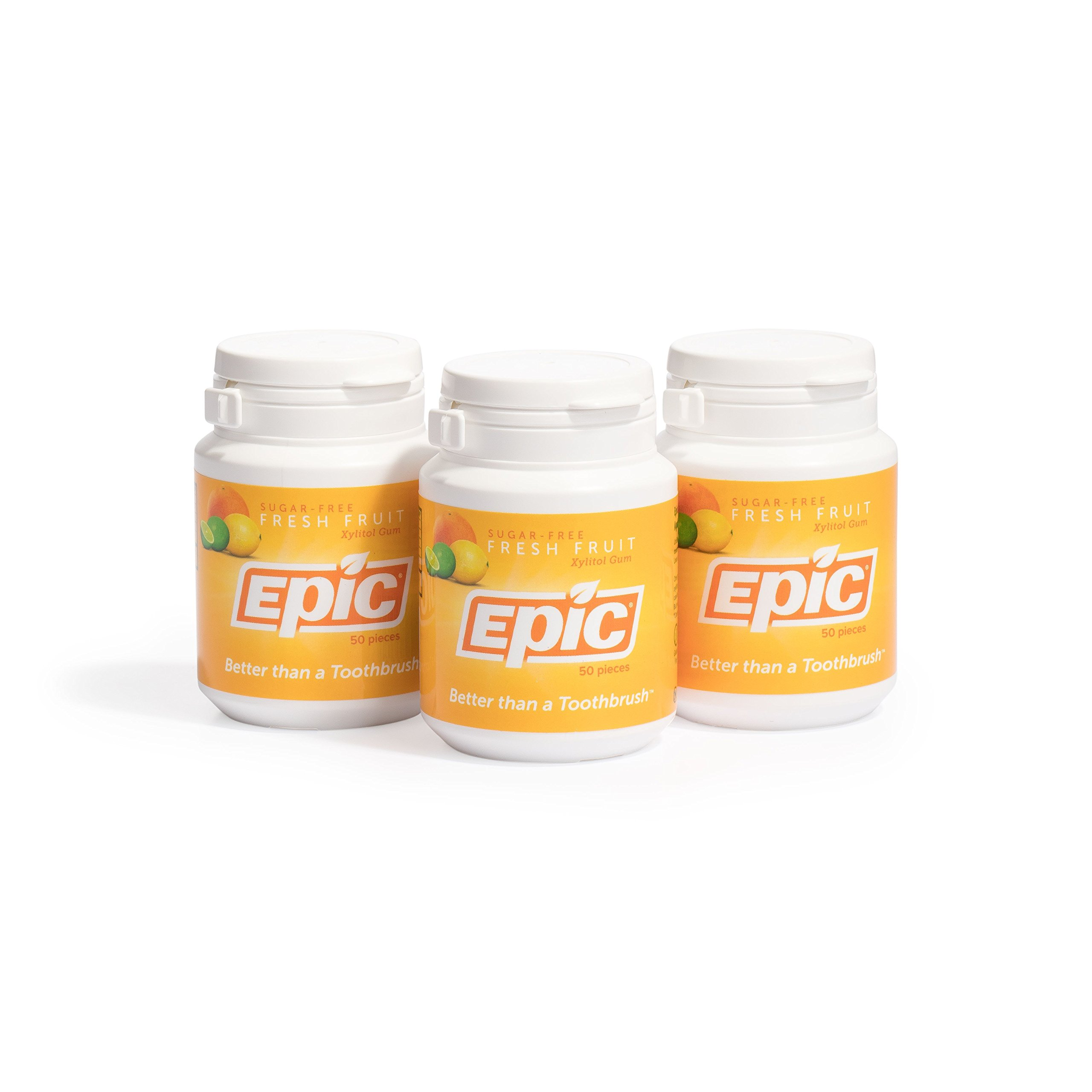 Epic Dental 100% Xylitol Sweetened Gum, Fresh Fruit, 50 Count (Pack of 3)